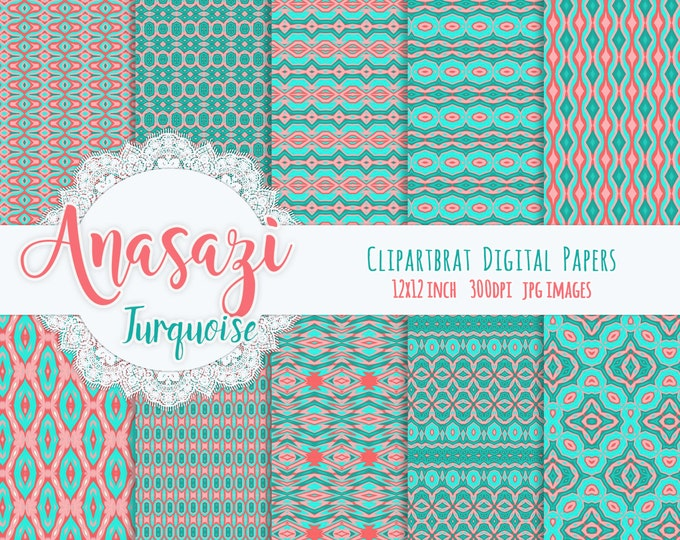 ANASAZI TURQUOISE Digital Paper Pack Commercial Use Digital Backgrounds Teal & Coral Tribal Digital Paper Aztec Geometric Digital Paper Pack