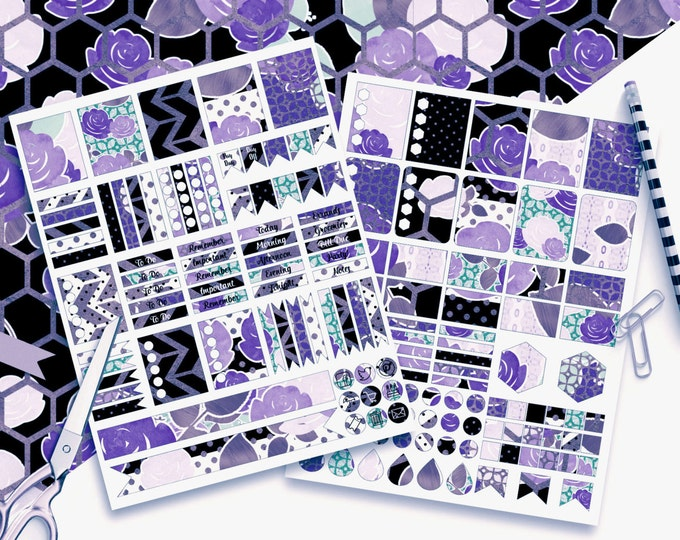 PURPLE FLORAL Digital Sticker Sheets Black White Blue Blush Metallic Flower Stripe Roses Printable Planner Stickers Erin Condren Stickers