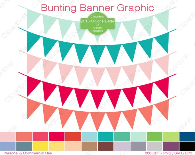 BUNTING BANNER Clipart Commercial Use Clipart Pennant Flag Graphic 2016 Color Palette 24 Colors Flag Banner Digital Sticker Png Eps Svg