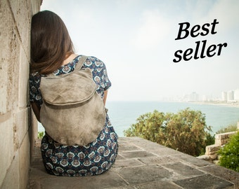 Stylish Gray Leather Backpack For Women, Small Mini Backpack, City Bag, Minimalist Backpack, Leather Rucksack, Laptop Backpack, Personalized