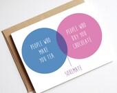 Venn Diagram Soulmate Card // Birthday Card // Greeting Card // Anniversary card // Engagement card // Blank Inside