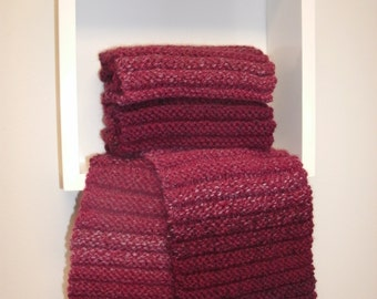 """Ruby Red Soft Wool Blend Hand Knit Scarf 63"""" x 6"""" See Matching Hat in My Other Listings Christmas"""