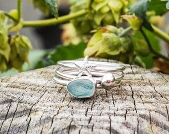 Sterling Silver Seaglass Ring Stack - seaside - starfish - pebble - gift - for her - birthday