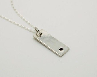 Silver handstamped heart dainty bar necklace - simple - love - gift - for her