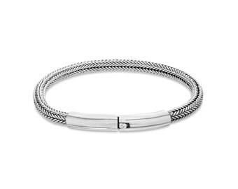 Classic Men's 925 Sterling Silver Chain Woven Bracelet, Men's Sterling Silver Bracelet, Men's Silver Bracelet, Silver Bracelet, Mens Jewelry