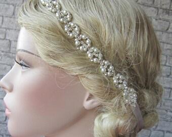 Wedding Pearl And Rhinestones Headband, wedding hairband,Pearl headband, rhinestones headband, bridal accessories