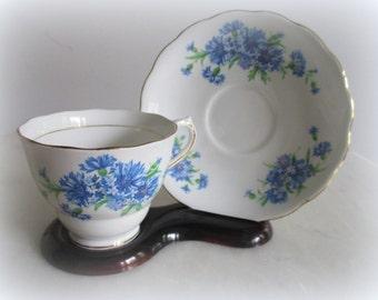 Colclough Cup SAucer TEa Blue PUrple Flowers