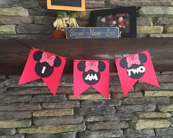 Minnie Mouse One Two Three Four Banner Happy Birthday Minnie Banner Minnie Mouse Decor Mickey Mouse Disney Birthday Party