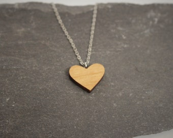 Heart Necklace   Laser Cut Wooden Jewellery
