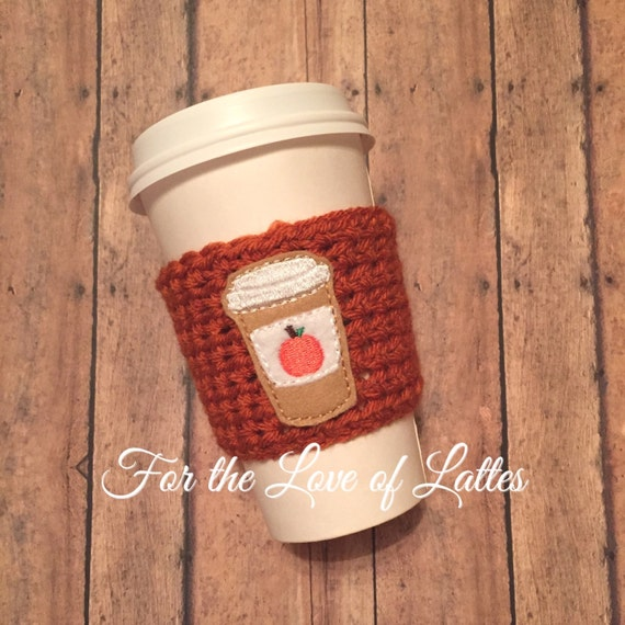 Pumpkin Spice latte appliqué crochet coffee sleeve coffee