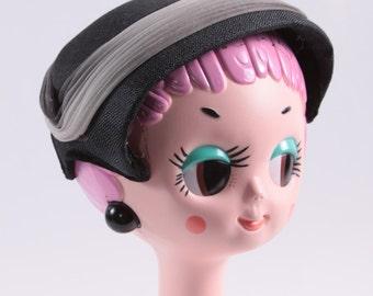 Vintage Black Striped 1920s Formal Hat - Capulet - Head Hugging ~ Boom Thang Vintage ~ 161103