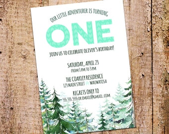 5x7 Adventure and Watercolor Pine Trees 1st Birthday Party Invitation Printable