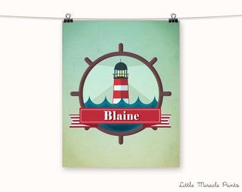 Blaine, Lighthouse, Fine Art Paper, Baby Name Poster, Girl Nursery Print, Name Tags, Birth Stats, Animal Art, Custom Wall Art [N8B345]
