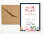 Bridal Shower Invitation Printable | Hand Lettered Detail | Watercolor Flowers | Bridal Shower Invite