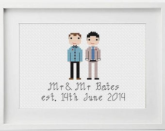 Gay Wedding Gift Personalised Custom Gay Wedding Gift - Gifts for Gay Wedding -  Gay Wedding Gift - Custom Personalised Cross Stitch