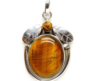 Allnonly silver tiger's eye gems stone pendant