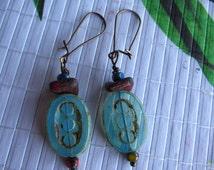 Water Blue Glass Earrings - Czech glass imprint glass earrings - Picasso wash glass earrings