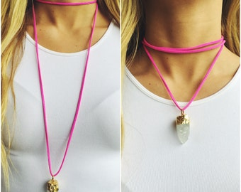 Hot Pink Suede 'Wrap It Your Way' Necklace with Crystal Pendant