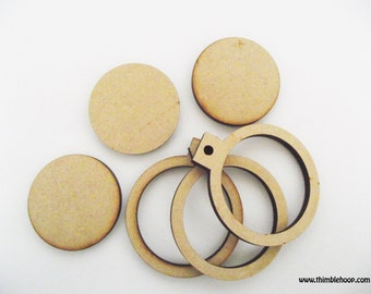 Mini embroidery hoop, craft supply, jewellery supply