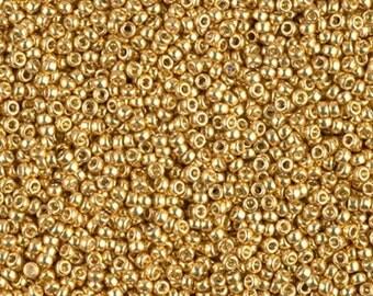 Duracoat Galvanized Gold, D4202 Miyuki size 15/0 Glass Seed Bead, 10 grams