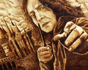 "Severus Snape ""Harry Potter"" Pyrography Portrait Alan Rickman with frame"