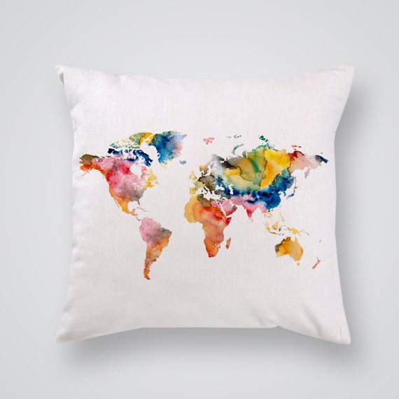 World Map Throw Rug: World Map Pillow Cover Home Decor Decorative By PrintsyShop