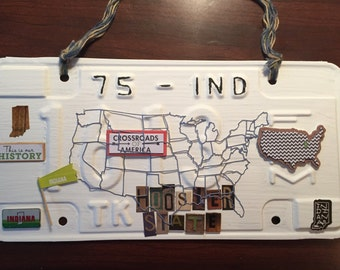 License plate art, state of Indiana, Hoosier state , vintage year 1975