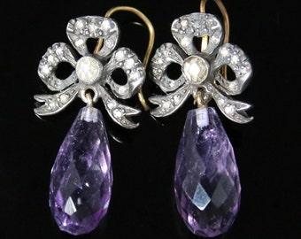 Antique Amethyst & Diamond Earrings - Rose Cut Diamonds Briolette Amethysts