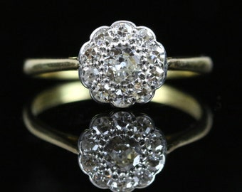 Antique Victorian Diamond Cluster Ring 18ct Gold 1ct Of Diamonds