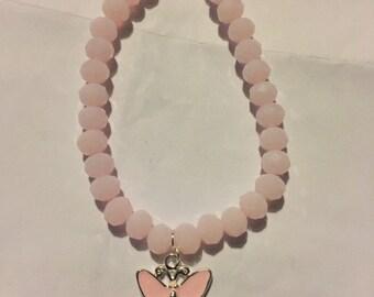 Pink jade beaded butterfly bracelet