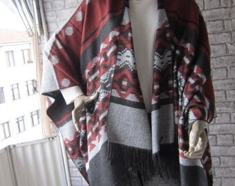 EXPRESS SHIPPING,Burgundy and Grey poncho ,Winter wrap, Tribal ponchos, Winter outerwear, Boho womens clothing, Aztec cape, Christmas gift