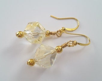 Pale Yellow Crystal Cube . Earrings