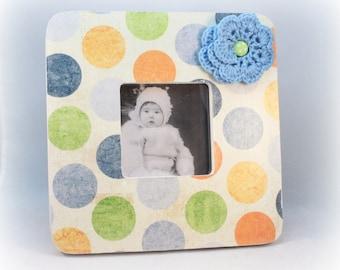 Square Picture Frame, Polka Dot, Baby Room Decor, Boy's Room, Girl's Room, Nursery Frame, Distressed Wood Frame, Nursery Decor, Painted