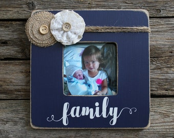family picture frame navy frame rustic picture frame wedding gift