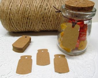 25 or 50 Mini Mason Jar Gift Tags - Suitable for Any Occasion - Gift Embellishment - Favor Tag - Edible Tag - Wedding Wish Tag - Dessert Bar