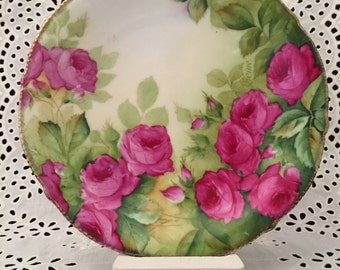 Hand Painted Bavarian Plate Pink Roses Cottage Chic