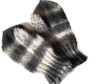 Knit  mittens. Warm mittens. Men's mittens. White mittens. Gray mittens. Black mittens. Winter mittens.