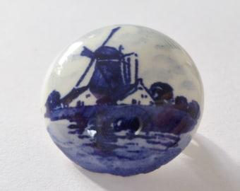 Delft Windmill Brooch Holland Vintage Pin Blue