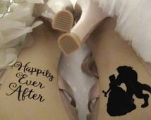 Disney Bride Shoe Decals ~ Bride and Groom Decorations ~ Photography Photo Prop ~ Best Day Ever ~ I Do ~ Happily Ever After ~ Beauty Beast