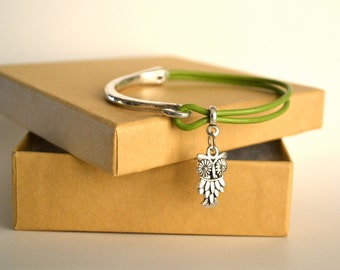 Kiwi Green Double Strand Leather Bracelet/Antique Silver Hook Clasp/Antique Silver Charm/Women's Bracelet