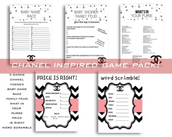 Chanel Baby shower games pack Word Scramble Price is right Whats in your purse, Family feud baby shower game Baby name race Instant Download
