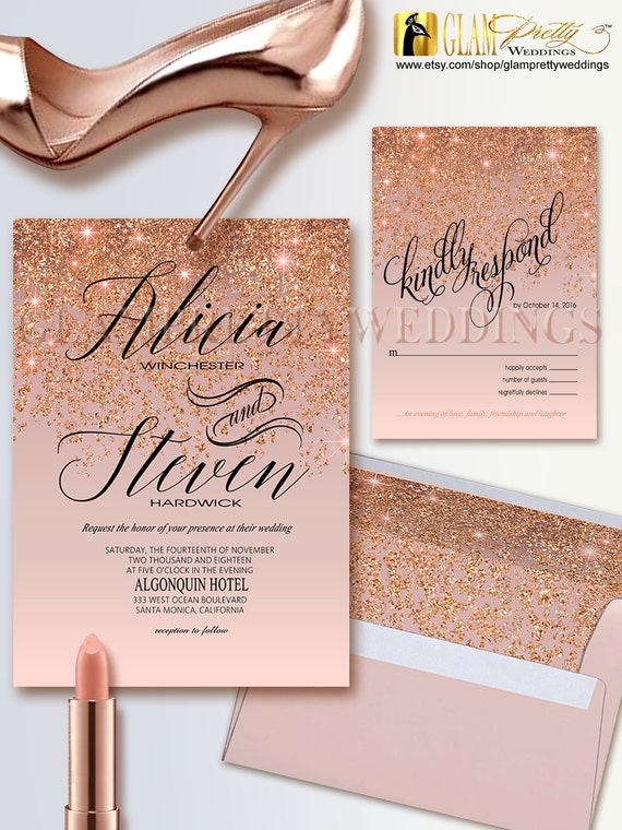 Rose gold glitter wedding invitation rsvp card glam gold for Rose gold winter wedding invitations
