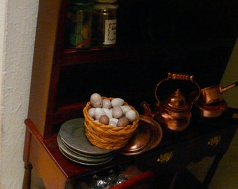Dollhouse Miniature Eggs Set of 20 1:12 Food Duck Chicken Dolls House Artisan Handmade Brown White Speckled Medieval Tudor Cottage Mini Egg