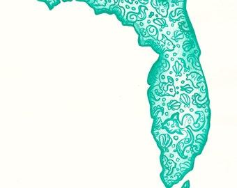 Teal State of Florida Watercolor Print