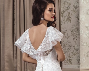 Buy Online, Elegant White/Ivory Wedding Mermaid Dress with Lace, Lovely Back, Bridal Gowns, Gown