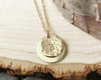 Double Disk Initial Necklace (Yellow Gold, Rose Gold, or Sterling Silver)