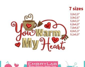 Machine Embroidery Mini Design Valentin Lettering You Warm My Heart (16111)