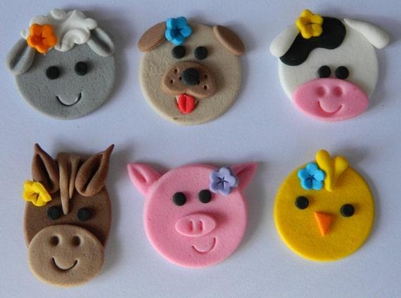 12 Edible Farm Animals Faces Cupcake Sheep Cow Pig Horse Dog