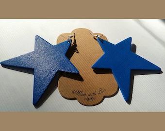 Wooden Star Shaped Earrings