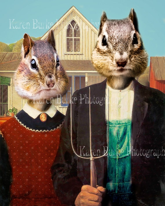 Ma And Pa Chipmunk American Gothic Whimsical By